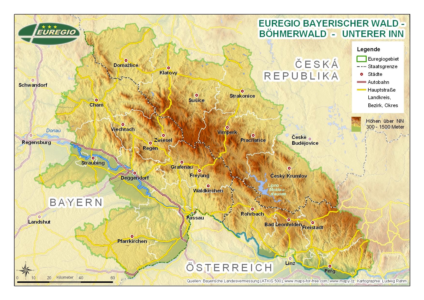 karte bayerischer wald Karten